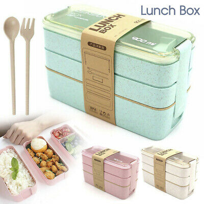 AU11.49 • Buy 3-Layer Bento Box Students Lunch Box Eco-Friendly Leakproof 900ml Food Container