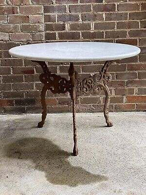 AU2500 • Buy French Antique Marble & Cast Iron Table Entry Garden Conservatory Dining Table