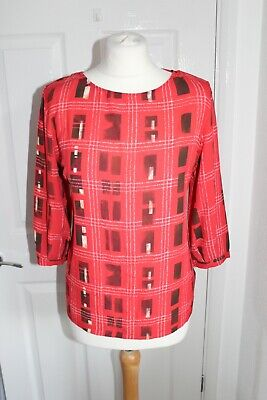 £5.99 • Buy Next Womens Red Check 3/4 Sleeve Blouse Size 10 CLEARANCE