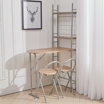 £79.95 • Buy Folding 3Pc Kitchen Breakfast Bar Dining Table & 2 Chairs Stool Set  Metal Frame