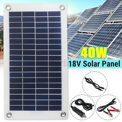 £20.99 • Buy 12V 40W Dual Double USB Flexible Solar Panel Battery Charger Kit Boat Car