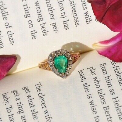 £5000 • Buy Victorian Certified Colombian Emerald And Diamond Heart Cluster Engagement Ring