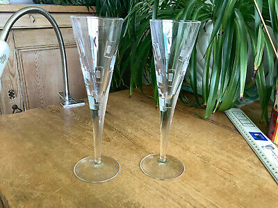 £44 • Buy 2 Signed Royal Doulton Metro Crystal 9  Champagne Flutes