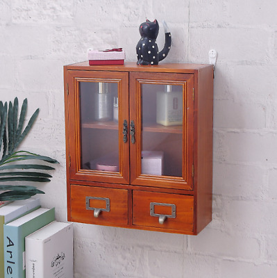 £23.42 • Buy Rustic Wooden Storage Cabinet Display Unit Wall Cupboard Shelf With Drawers