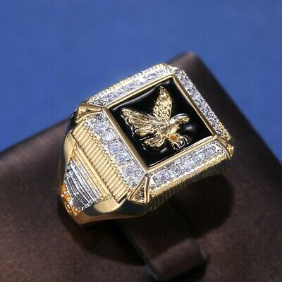 £4.99 • Buy Fashion Eagle Rings For Mens 18k Yellow Gold Plated Jewelry Gifts Size 7-13
