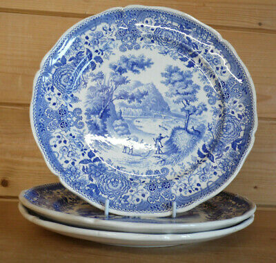 £29.95 • Buy 3 X 9¾  Small Dinner Luncheon Plates Villeroy And Boch Burgenland Blue & White