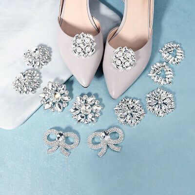 £6.99 • Buy Women Shoe Buckle Crystal Silver Bridal Wedding Party Shoes Clip Prom Decoration