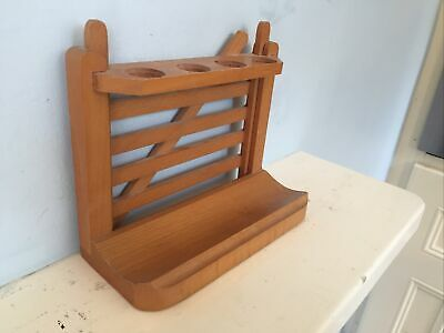 £12.25 • Buy Vintage Smokers Traditional Gate Style Pine Wood Wooden 4 Pipe Rack Match Tray
