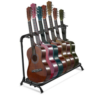 $ CDN57.26 • Buy Guitar Stand 7 Holder Folding Stand Rack Band Storage Bass Electric Acoustic