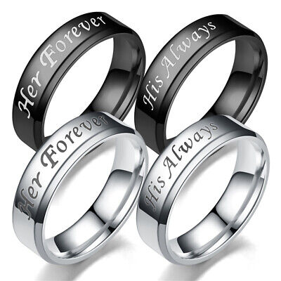 £3.99 • Buy His Always/Her Forever Couple Ring Titanium Steel Simple Engagement Wedding Band