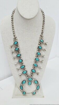 $ CDN438.45 • Buy XL Vintage Native American Sterling Silver Turquoise Squash Blossom Necklace