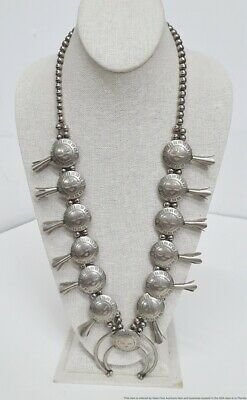 $ CDN216.81 • Buy Cool Unusual Native American Indian Sterling Silver Squash Blossom Necklace