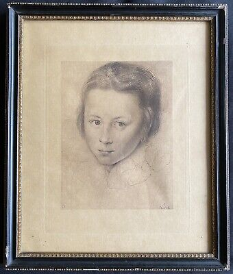 £25 • Buy Antique Framed Young Boy Male Portrait Pencil Etching 'Oliver' Signed EB