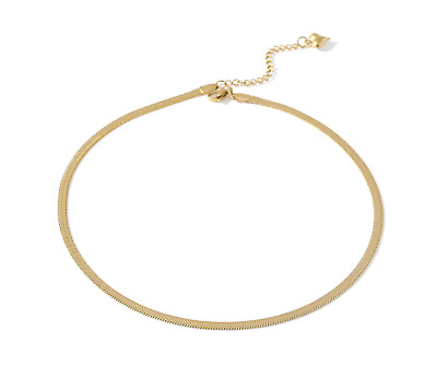 £8 • Buy Statement Gold-Plated Flat Snake Chain Choker Necklace Perfect For Layering