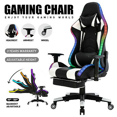 AU209.90 • Buy LED Gaming Chair Office Executive Computer Recliner PU Leather Ergonomic Racing