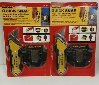$18.95 • Buy Lot Of 2 MagNoGrip Quick Snap Magnetic Utility Knife With Holder - 002-528