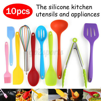 AU23.98 • Buy Set Of 10 Silicone Utensil Cooking Kitchen Baking Cookware Non Stick  New W