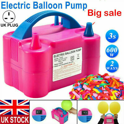 £12.99 • Buy UK NEW Portable 600W Electric Air Balloon Pump Dual Nozzle Automatic Inflator