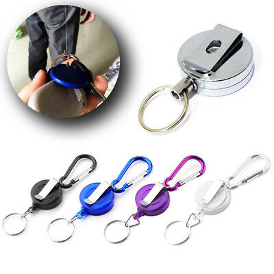 £1.99 • Buy 1/2PCS Stainless Silver Retractable Key Chain Recoil Keyring Heavy Duty Steel UK