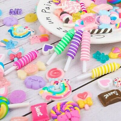 AU19.78 • Buy Mixed Slime Charms Candy Sweets Lollipop Assorted Flatback Resin Supply AU