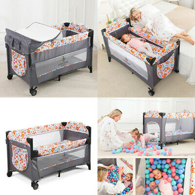 £59.96 • Buy Portable Baby Bedside Travel Cot Crib Bassinet Bed With Mattress Folding Playpen