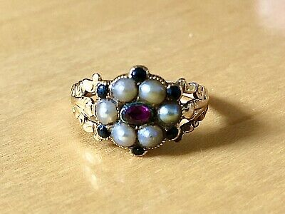 £350 • Buy Georgian 18ct Gold Cluster Ring Set With Pearls, Ruby And Jet