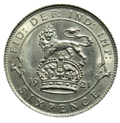 £38.95 • Buy 1921 King George V Silver Sixpence Coin Unc - Great Britain
