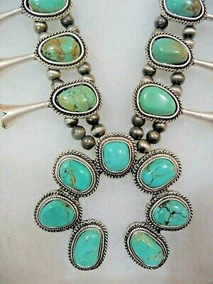 $ CDN276.92 • Buy Natural Green Turquoise PEWTER SQUASH BLOSSOM Naja Silver Necklace ++Turquoise