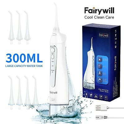 View Details White Water Jet Pick Flosser Fairywill 300ML Cordless Oral Irrigator 8PCS Tips • 100.99$