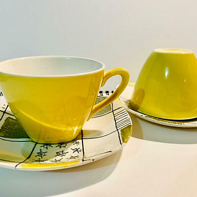 £290.97 • Buy Set Of 2 Midwinter Modern Cup & Saucer Yellow Checkers Terence Conran Vintage