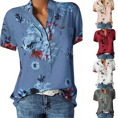 £7.99 • Buy Plus Size Womens V-Neck Button Shirt Tops Ladies Summer Casual Floral Blouse Tee