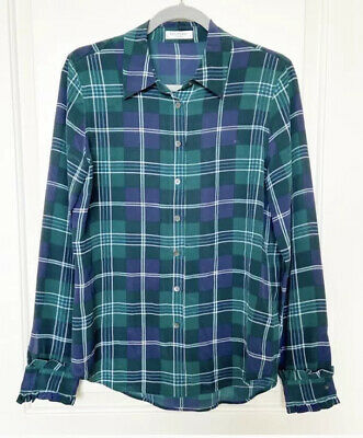 $ CDN44.06 • Buy Equipment 100% Silk Green And Navy Plaid Button Up Blouse Size Small