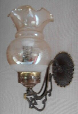 £4.60 • Buy Rustic/Vintage Brass Wall Light/Sconce With Glass Shade