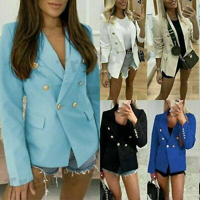 £25.90 • Buy Women's  Double Breasted Button Front Military Style Blazer Ladies Formal Jacket
