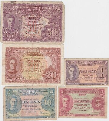£21 • Buy Set Of Five 1941 Malaya Banknotes In Used To Near Very Fine Condition.