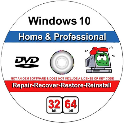 $ CDN19.43 • Buy Windows 10 Home And Professional Compatible 32/64 Bit DVD. Recover, Repair, Rest
