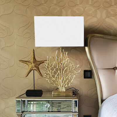 £109.95 • Buy Gold Tree Table Lamp W/ White Silk Shade Bedside Lamp Home Living Room Furniture