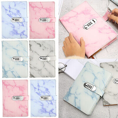 £15.05 • Buy Marbled PU Leather Journal Wired Diary Lockable NoteBook With Password LOCK