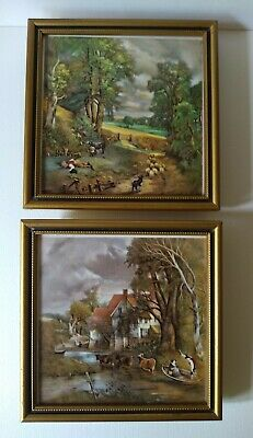£25 • Buy H&R Johnson Tiles CRISTAL UNUSED Vintage/antique Country Scene Painting X 2