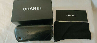 £14.51 • Buy EMPTY Chanel Black Leather Quilted Hard Sunglasses Case With Box And Dust Bag