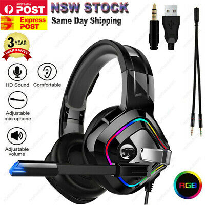 AU32.99 • Buy 3.5mm Gaming Headset MIC LED Headphones Surround For PC Mac Laptop PS4 Xbox One