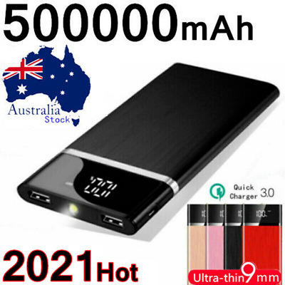 AU26.99 • Buy 500000mAh Ultra Thin External Power Bank 2 USB Battery Charger For Mobile Phone