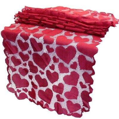 £4.27 • Buy Red Table Runner Valentines Day Decoration Lace Dining Heart Table Runner F N6L3