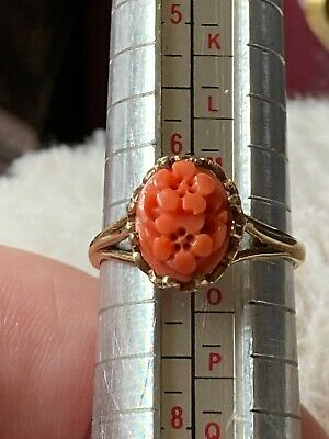 £134.99 • Buy Fabulous Carved Coral 9 Carat Yellow Gold Hallmarked Floral Ring Size N Vwlq600