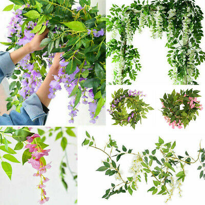 £6.99 • Buy 2Pcs Artificial Wisteria Vine 7FT Garland Plant Foliage Outdoor Trailing Flowers