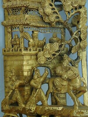 £325 • Buy Late Qing Chinese Gilded Carved Gilt Gold Wood Relief Panel - Opera Scenes