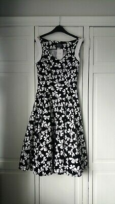 £10 • Buy Hearts And Roses Dress Black With White Bow Pattern  Size 10