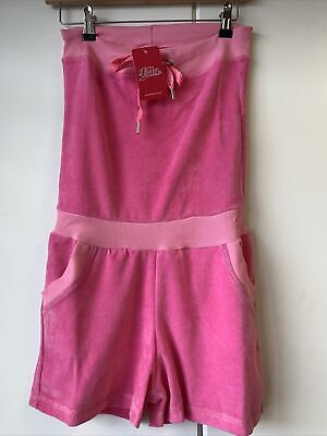 £2.99 • Buy Ladies Velour Playsuit Jumpsuit All In One Shorts Bandeau Hot Pink Size 8
