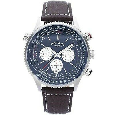 £39.99 • Buy Rotary Men's Stainless Steel Chronograph Leather Strap Watch U