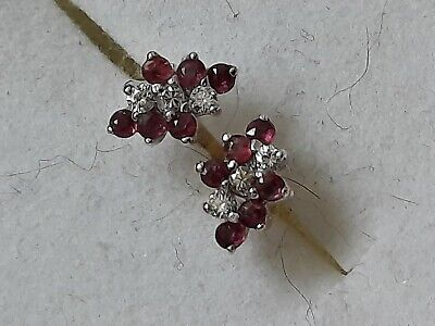 £120 • Buy 9ct Gold Ruby & Diamond Cluster Earrings. Fully Hallmarked.